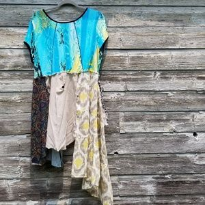 Patchwork Abstract boho Tunic Upcycled